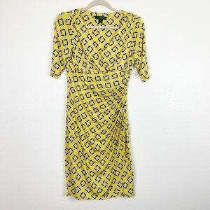 Lauren Ralph Lauren Yellow Chain Link Wrap Dress